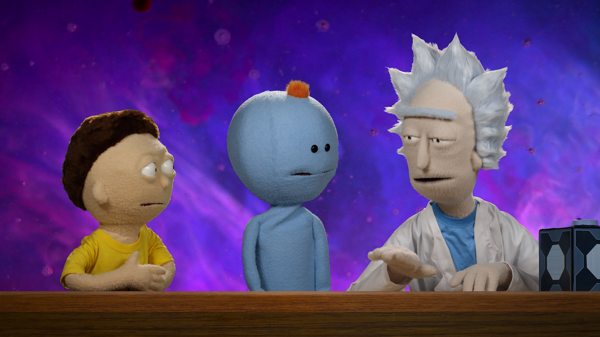Rick and Morty puppets from the Rick and Morty Blu-ray commercial shot and edited by Todd Bishop
