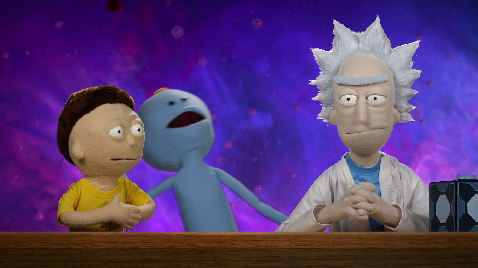 Rick, Morty and Meseeks puppets from the Rick and Morty Blu-ray commercial shot and edited by Todd Bishop