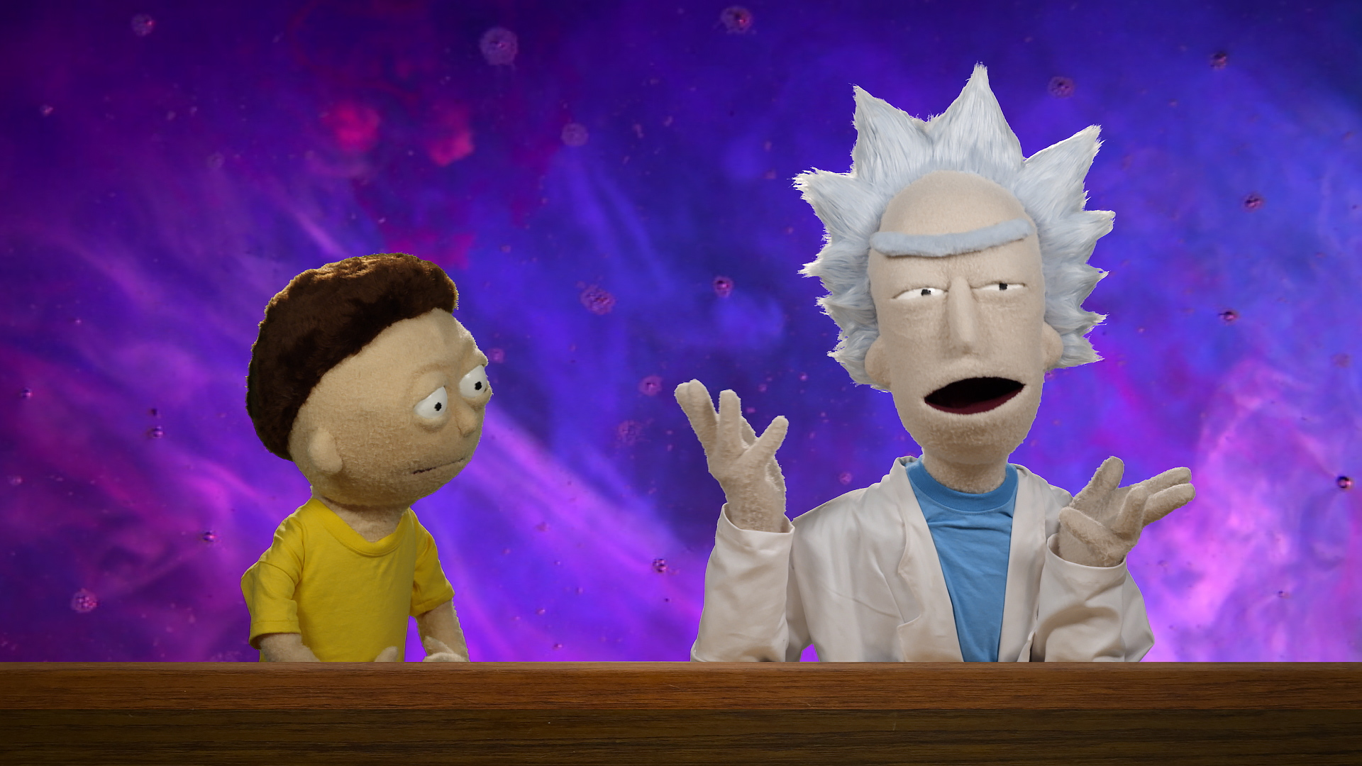 Rick and Morty puppets star in a commercial for the Rick and Morty Blu-ray