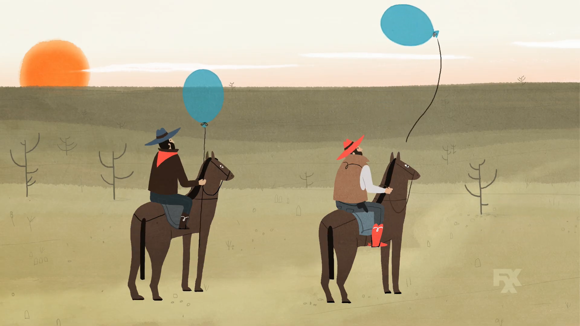 Two cowboys in a clip for Cake of FXX