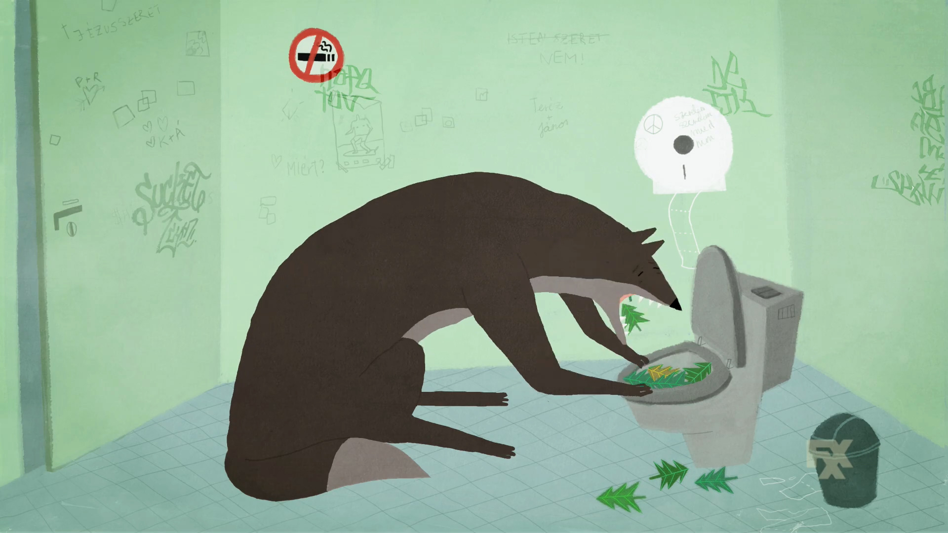 A wolf retches pine trees into the toilet from FXX's Cake