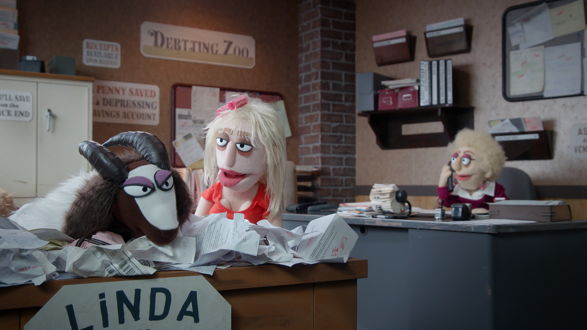 Linda the debt consolidating goat from a scene directed by Todd Bishop for Comedy Central's Crank Yankers