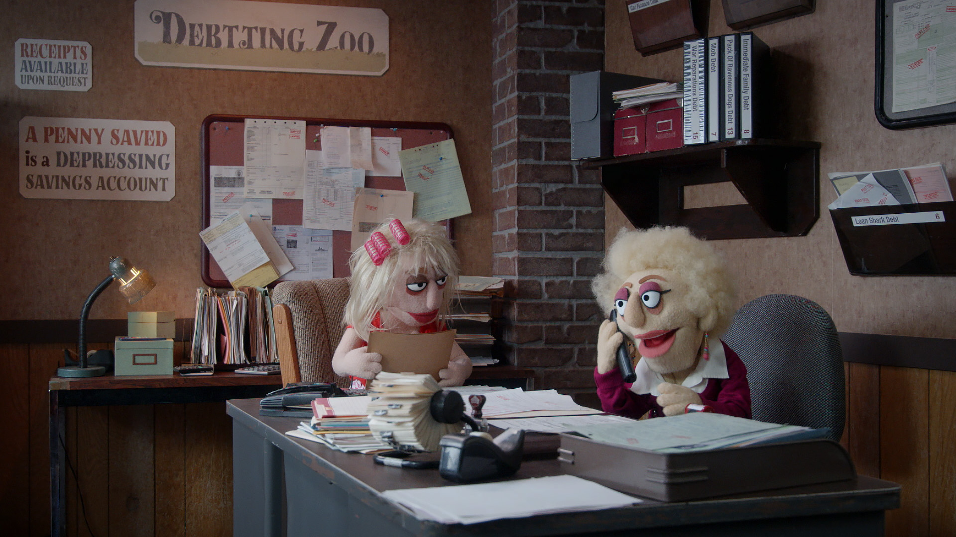 Female debt collector answers the phone on Comedy Central's Crank Yankers