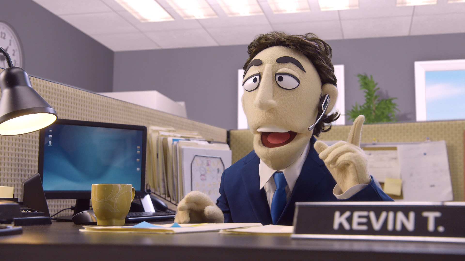 Kevin Nealon's puppet prank calls a flower shop in a scene for Comedy Central's Crank Yankers directed by Todd Bishop