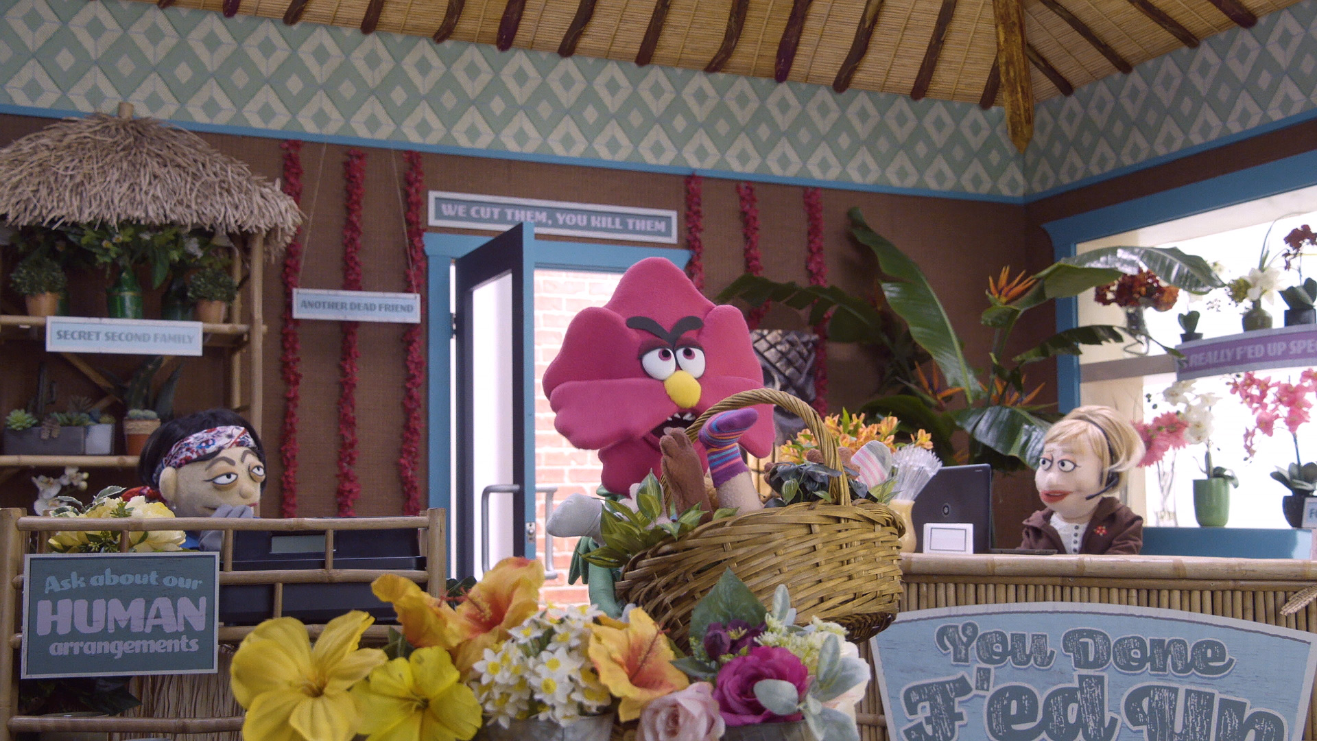 An angry flower stomps into a flower shop on Comedy Central's Crank Yankers