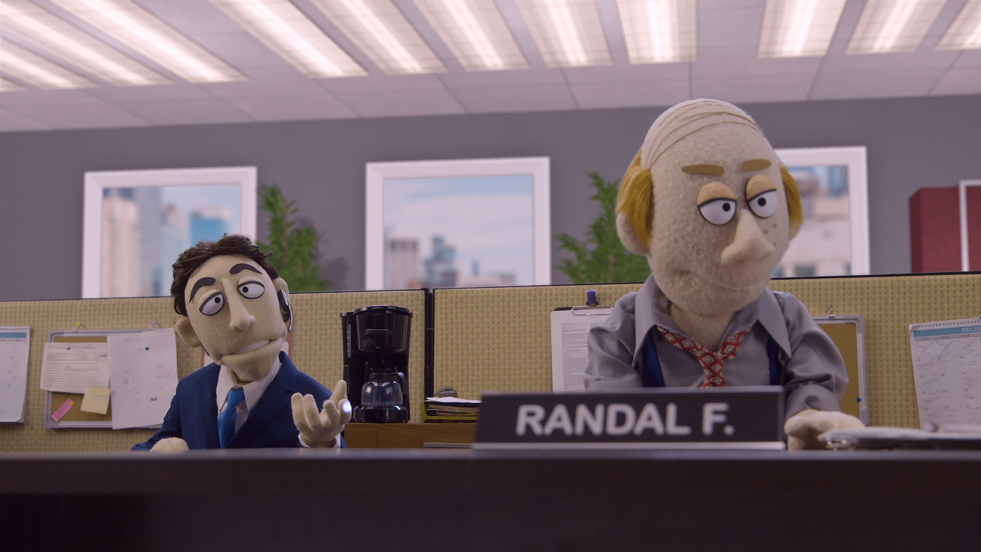 Kevin Nealon taunts his cubicle mate Randal on Comedy Central's Crank Yankers directed by Todd Bishop